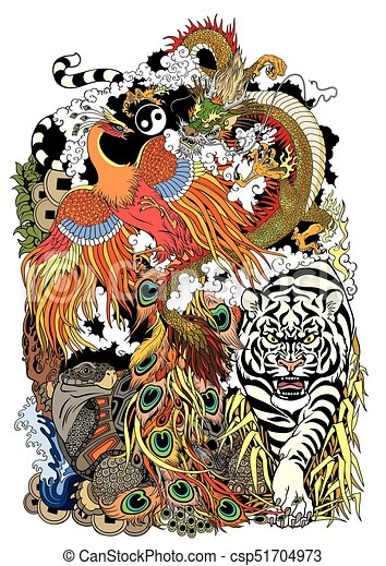 symboles, animaux, shui, feng - csp51704973