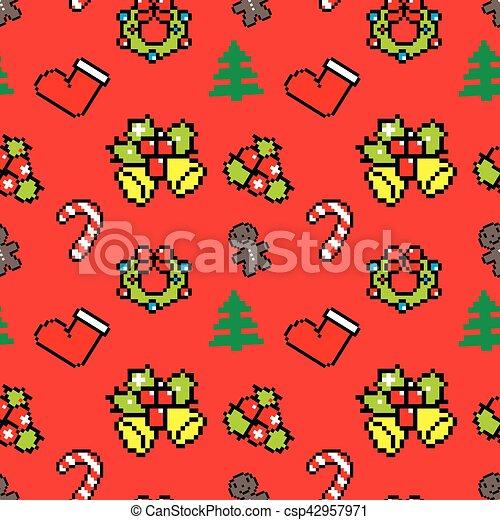 Symboles Art Pixel Fond Noël