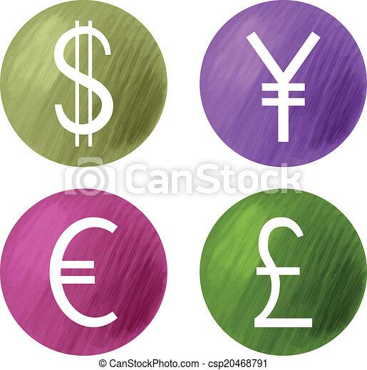 Symboles Devises Yen Dollar Livre Euro