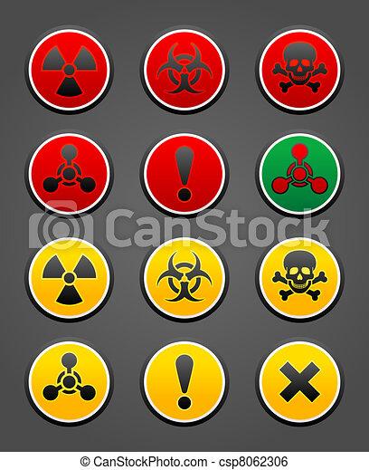 symboles, ensemble, sécurité, signe danger - csp8062306