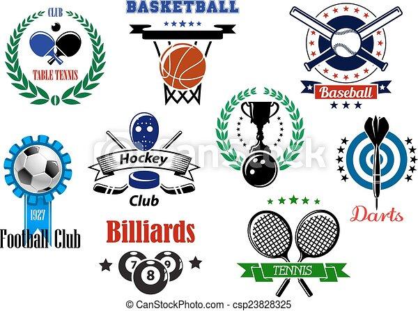 symboles, héraldique, emblèmes, conception, sports - csp23828325