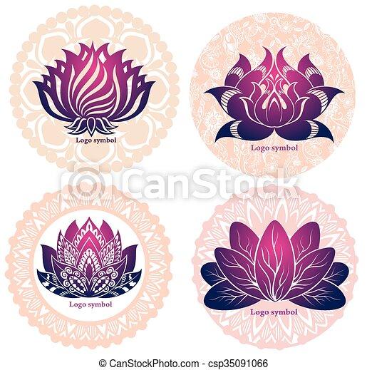 symboles, lotuses, ensemble, ésotérique - csp35091066