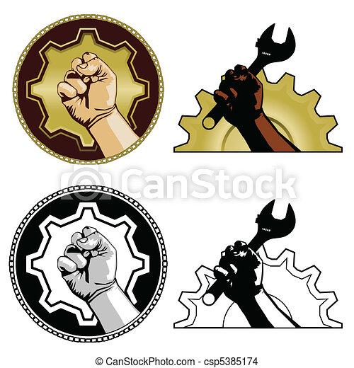 symboles, main-d'œuvre - csp5385174