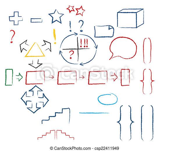 symboles, manuscrit - csp22411949