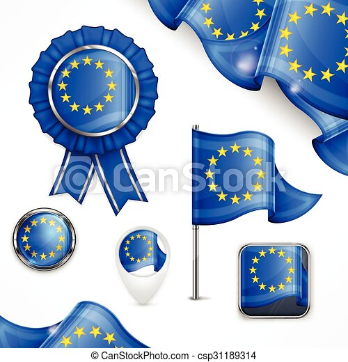 symboles, national, européen - csp31189314