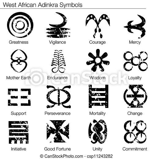 symboles, ouest africain, adinkra - csp11243282