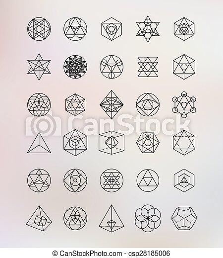 symboles, sacré, geometry., alchimie, hipster - csp28185006