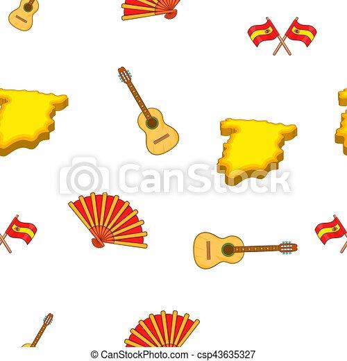 Symboles style espagne mod le dessin anim toile mod le pattern illustration symboles - Dessin espagne ...