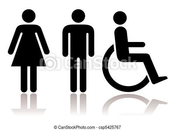 symboles, toilette, handicapé - csp5425767