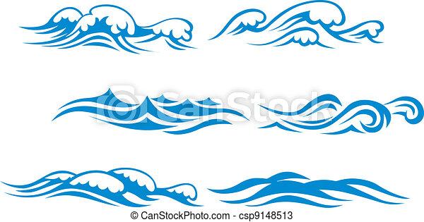 Symboles Vague Ensemble Isole Vague Symboles Conception Fond
