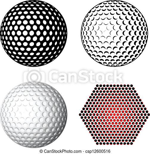 symboles, vecteur, balle golf - csp12600516