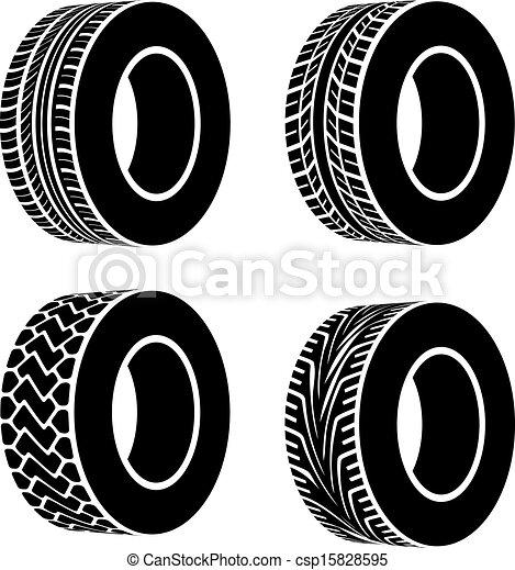 symboles, vecteur, noir, pneu - csp15828595