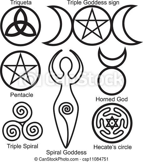 symboles, wiccan, ensemble - csp11084751