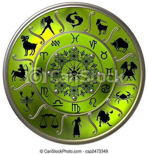 symboles, zodiaque, disque, vert, signes - csp2473349