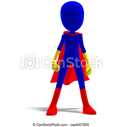symbolic 3d male toon character as a super hero. 3D rendering and shadow over white - csp4007859