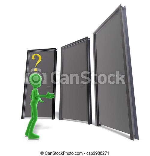 symbolic 3d male toon character don\'t know which door is the right one. 3D rendering and shadow over white - csp3988271
