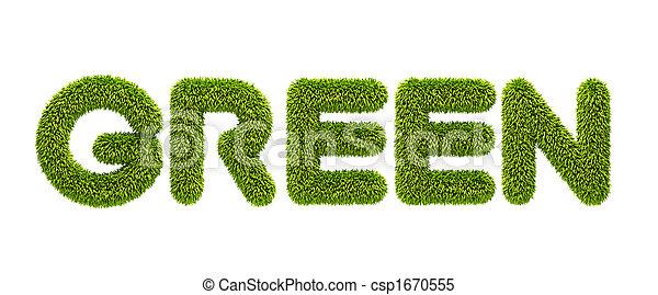"symbolic grassy word \""green\"" - csp1670555"