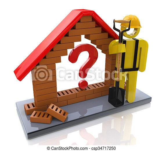 Symbolic house with a question mark - Concept of construction - csp34717250