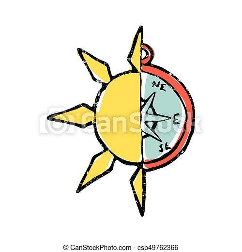 symbolic illustration of half sun half compass blue