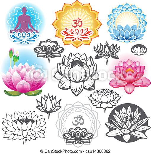 symbolika, lotosy, komplet, ezoteryczny - csp14306362