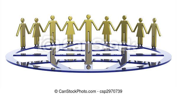 symbolique, globe, groupe, autour de, gens - csp2970739