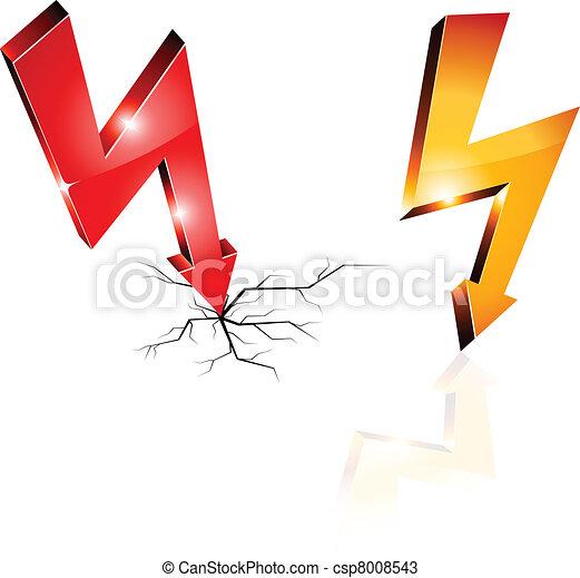 Simbolos de advertencia de electricidad. - csp8008543