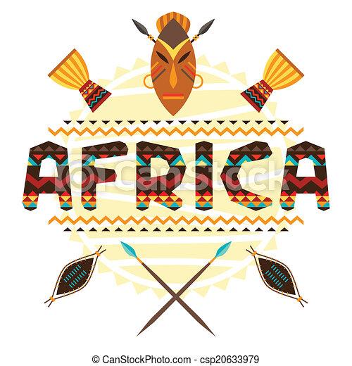 Trasfondo étnico africano con ornamento geométrico y símbolos. - csp20633979
