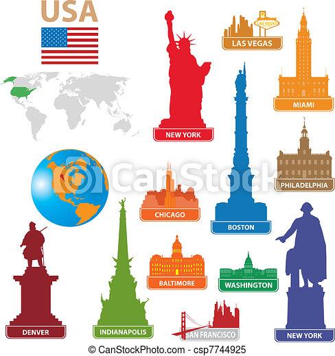 Symbols city USA - csp7744925