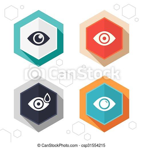 Señales oculares. Bola ocular con símbolos de gota de agua. - csp31554215