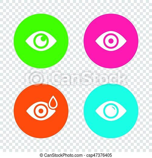 Señales oculares. Bola ocular con símbolos de gota de agua. - csp47376405