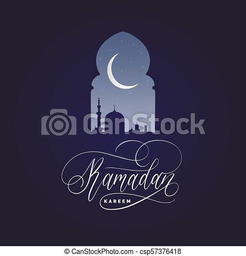 Ramadan kareem calligrafia. Ilustración de vectores de símbolos navideños islámicos. Vista nocturna de la mezquita desde Arch. - csp57376418