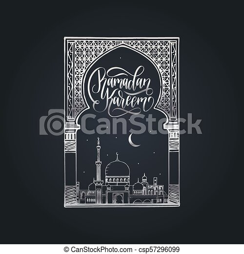 Ramadan kareem calligrafia. Ilustración de vectores de símbolos navideños islámicos. Vista nocturna de la mezquita desde Arch. - csp57296099