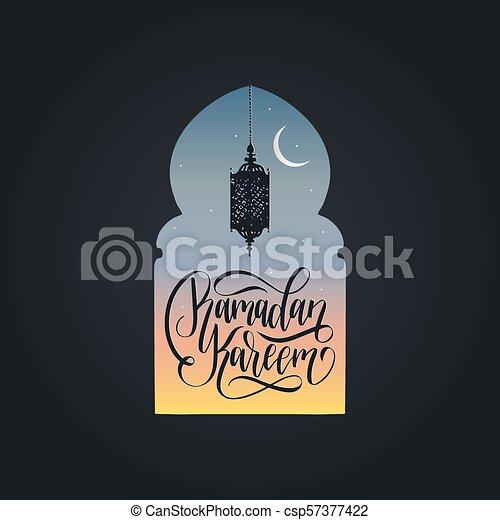 Ramadan kareem calligrafia. Ilustración de vectores de símbolos navideños islámicos. Vista nocturna de la mezquita desde Arch. - csp57377422