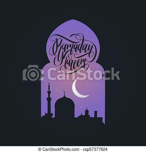 Ramadan kareem calligrafia. Ilustración de vectores de símbolos navideños islámicos. Vista nocturna de la mezquita desde Arch. - csp57377624