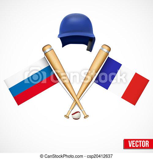 Symbols of Baseball team Russia and France. - csp20412637
