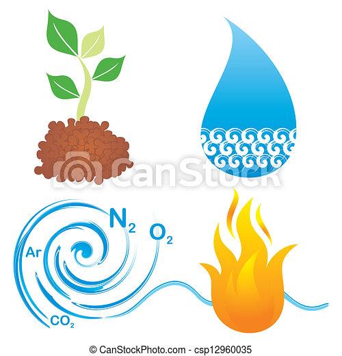 Symbols Of Four Elements Set Of Symbols Of Four Elements Earth