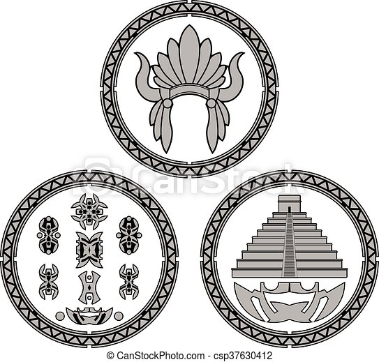 Symbols Of Indians Of Latin America Vector Illustration