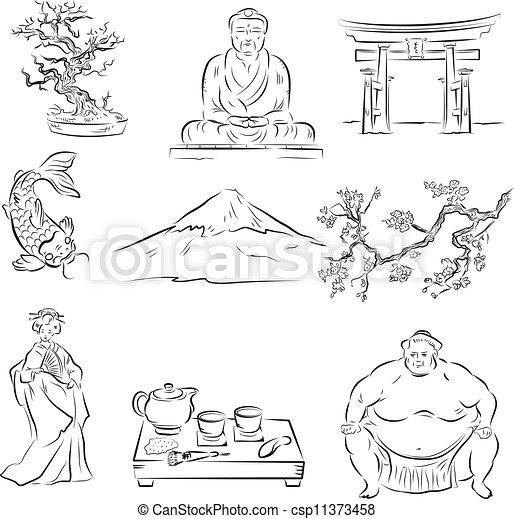 Symbols of Japanese culture - csp11373458