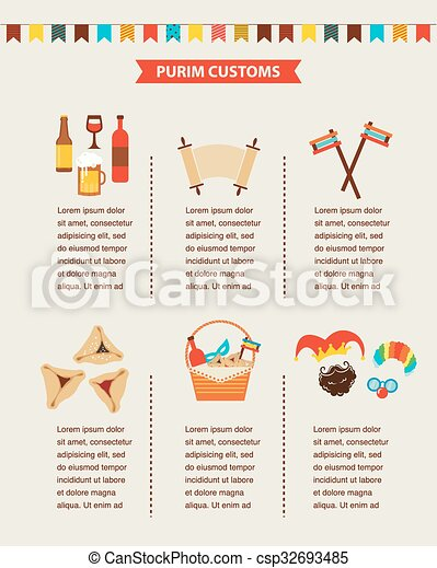 symbols of Jewish holiday purim. infographics design - csp32693485
