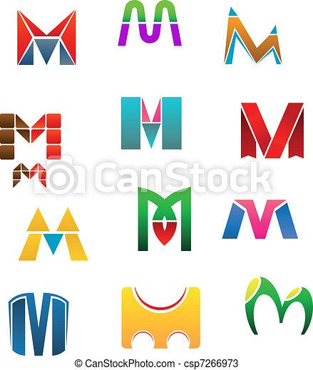 Symbols of letter M - csp7266973