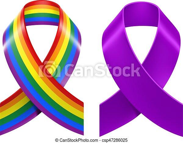 Symbols Of Lgbt Rainbow Pride Loop Ribbon Isolated On White Vector
