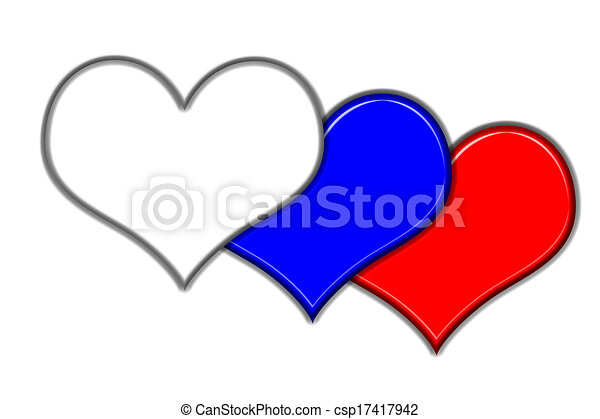 Symbols Of Love Hearts In Different Colours On A White Background
