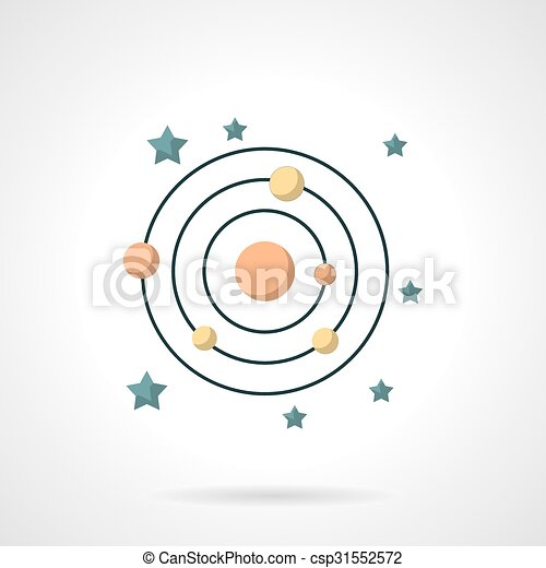 Symbols Of Solar System Flat Color Vector Icon Abstract Symbol Of