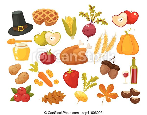 symbols of thanksgiving day and family traditions elements for