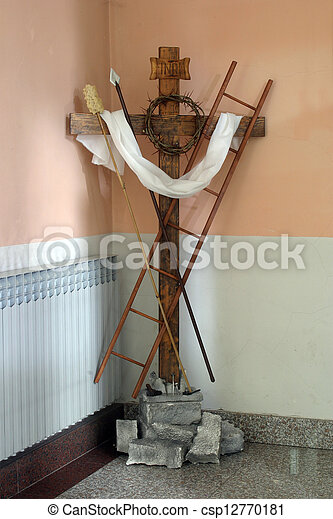 Christian Cross With Symbols Of The Passion Of Christ