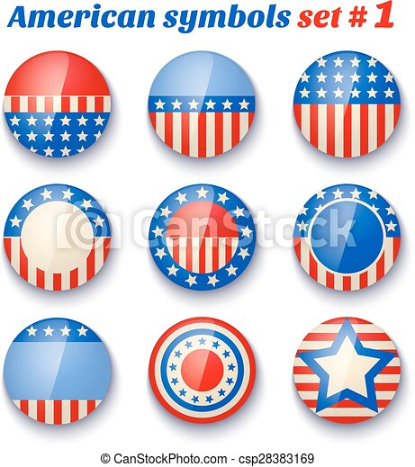 Vector Set Icons With Symbols Of The Usa Fof 4th July Clip Art
