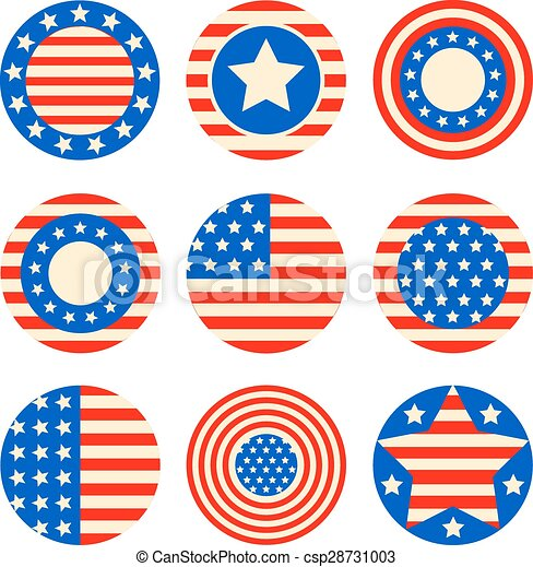 Vector Set Icons With Symbols Of The Usa Fof 4th July Vector