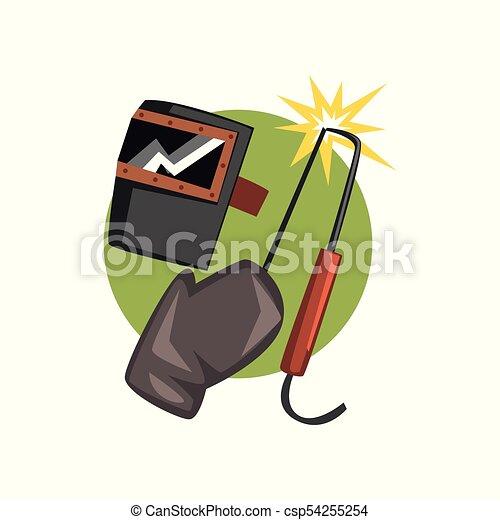 Symbols Of The Welder Profession Welding Machine And Mask Cartoon