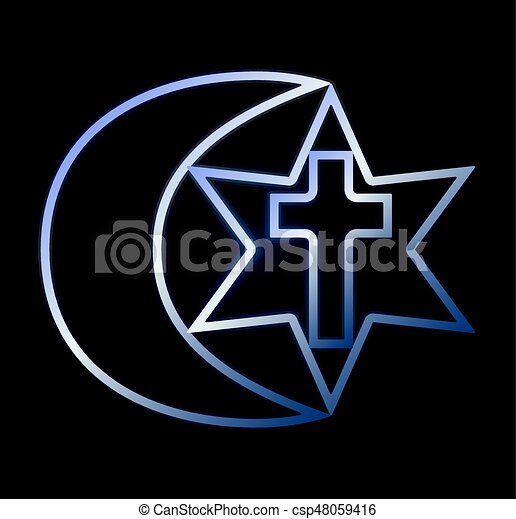 Symbols Of Three Religions Vector Illustration