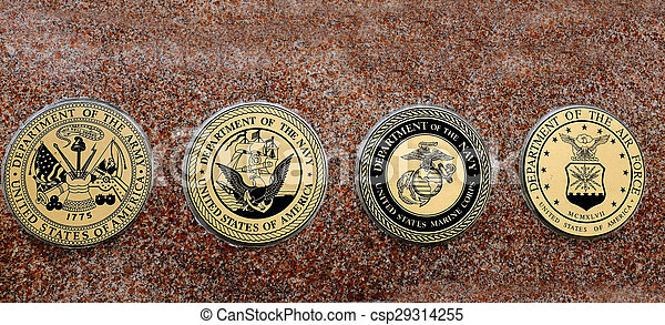 Symbols of USA Military Army Navy Airforce Marines - csp29314255
